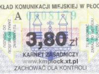 3,80 zł - karnet ulgowy, 12-przejazdowy