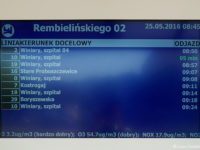 Informacja o jakości powietrza na tablicy LCD