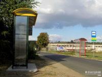 Nowa wiata na przystanku Słupno, Bociania oraz czerwona wiata przeniesiona z Barcikowa