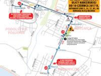 Trasa linii zastępczej x3 (źródło: kmplock.eu)