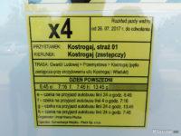 Rozkład jazdy linii zastępczej x4 z przystanku Kostrogaj, straż 01