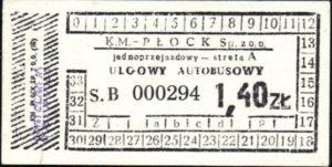 Bilet okolicznościowy z okazji 55-lecia płockiej komunikacji (ze zbiorów Marcina Kozłowskiego)
