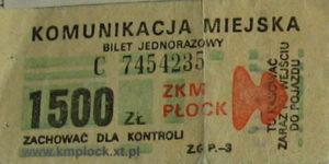 Bilet ważny jedynie w mieście Płock