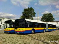 Autobusy przegubowe do czasu wyjazdu na linię oczekiwały na wynajętym placu naprzeciwko zajezdni