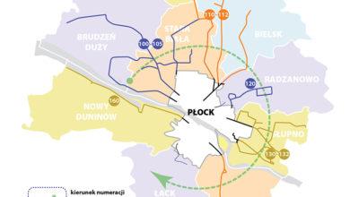 Mapa gmin z prezentacją sposobu nowej numeracji linii podmiejskich
