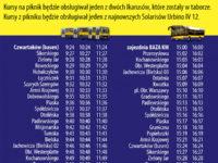 Rozkład jazdy darmowej linii specjalnej (źródło: kmplock.eu)