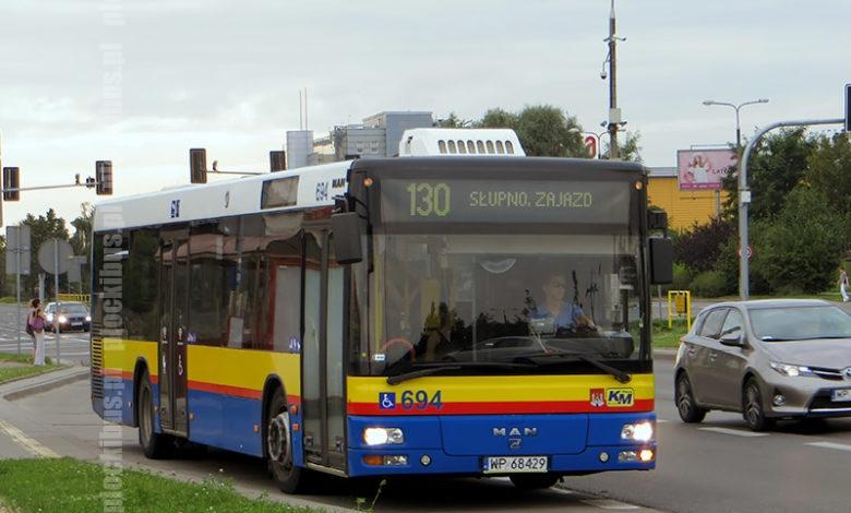 MAN #694 na linii 130 w kierunku Słupna