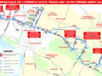 Mapa z nową trasą linii 130 (źródło: kmplock.eu)