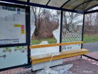 Uszkodzona wiata na przystanku Botaniczna