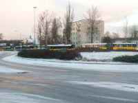Autobusy stojące w korku na Skarpie