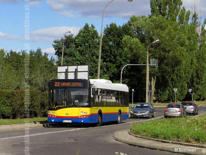 Autobus linii 22 na trasie objazdowej (łącznik pomiędzy ul. Chopina i al. Piłsudskiego)