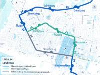 Planowana modyfikacja trasy linii 4 lub 24 w obrębie al. Kobylińskiego