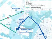 Planowane wydłużenie trasy linii 26 do ul. Traktowej