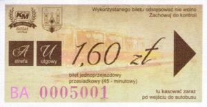 Bilet jubileuszowy z okazji 60-lecia komunikacji miejskiej w Płocku