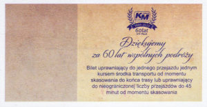 Rewers biletu jubileuszowego