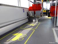 Oznakowanie miejsc na wózki na podłodze w Solarisie Urbino 12