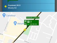 zrzut ekranu z aplikacji myBus