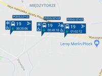 Trzy autobusy linii nr 19 jadące w tym samym kierunku (źródło: aplikacja myBus)