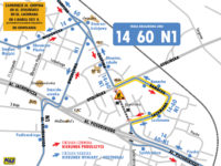 Trasa objazdu dla linii 14, 60 i N1 (źródło: kmplock.eu)