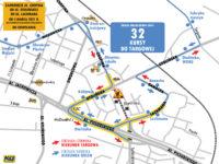 Trasa objazdu dla linii 32 (źródło: kmplock.eu)