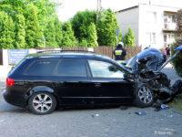 Zniszczone audi, które spowodowało wypadek